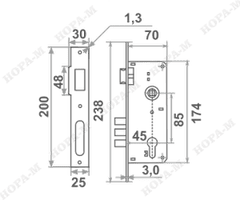 Корпус замка КЭВР-101 (85мм) Нора-М