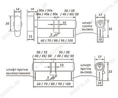 Личина Нора-М Люкс I ЛВ-60 (30-30) с вертушком